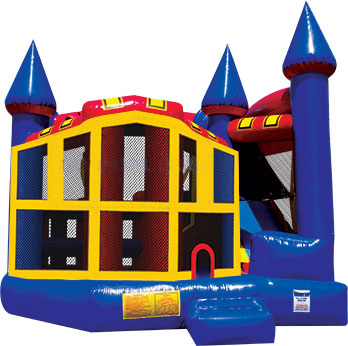 5 in 1 combination moonwalk bounce house for large parties and festivals.