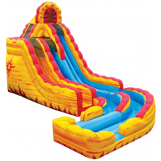 Fire and Ice theme inflatable slide. With banked curve extension.