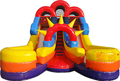 Junior double slide inflatable rental for outdoor events and parties.