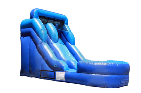 12 foot long inflatable blue slide for outdoor events and parties in the summer. Can be used wet or dry.