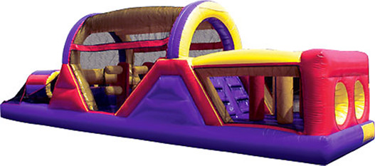 40 foot long inflatable obstacle course for boys' and girls' parties.