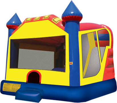 3 in 1 combination bounce house in yellow, red, and blue.