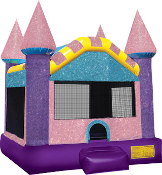 Sparkle princess bounce house castle for little girl's birthday party and celebrations in North Carolina.