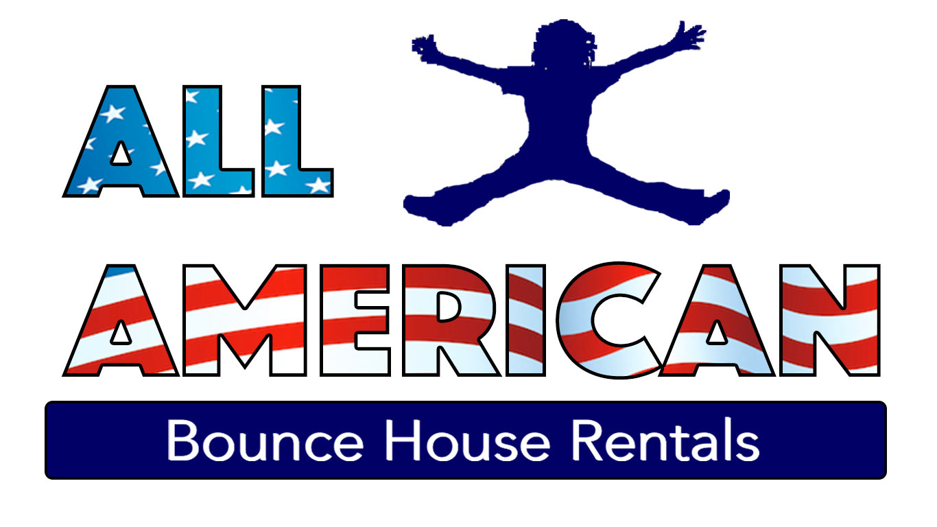 All American Bounce House Rentals logo bouncing kid silhouette