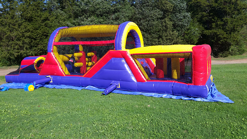 inflated 40 foot long obstacle course for parties