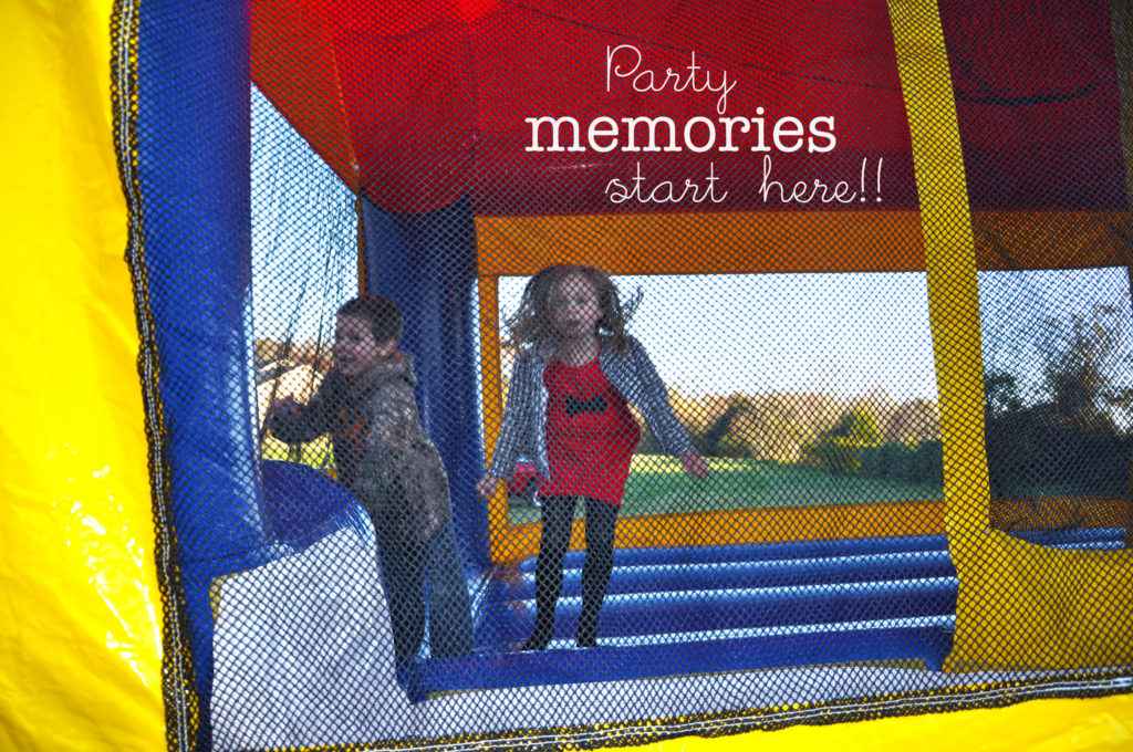 Party memories start here. Children jumping in bounce house