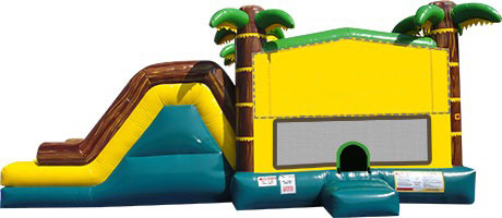 Tropical themed inflatable with 2 slides and bounce house.
